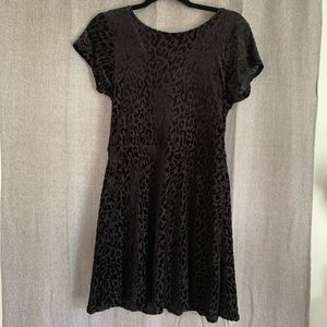 Velour Black Dress with Cheetah Print
